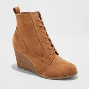 A New Day Women's Cora Lace up Wedge Booties